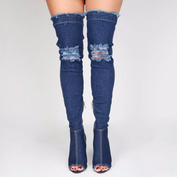 ad4e7f3dd700 women Long Boots Cut-out High Heels Sexy Thigh High Jeans Rome peep toe  Sandal