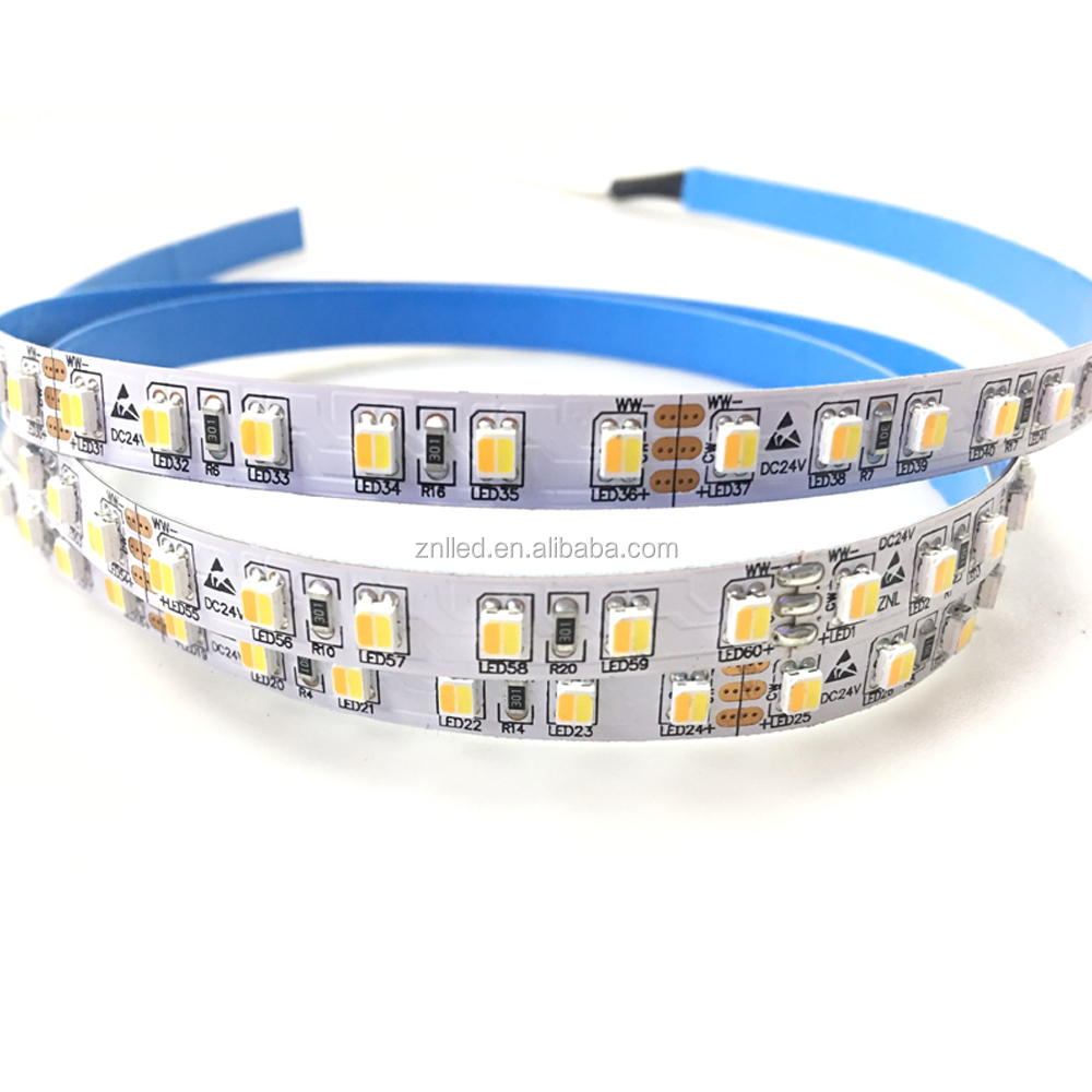 White+Warm White Color Temperature Adjustable CCT Changeable Two Color LED Strip 24V 120LEDs 19.2W