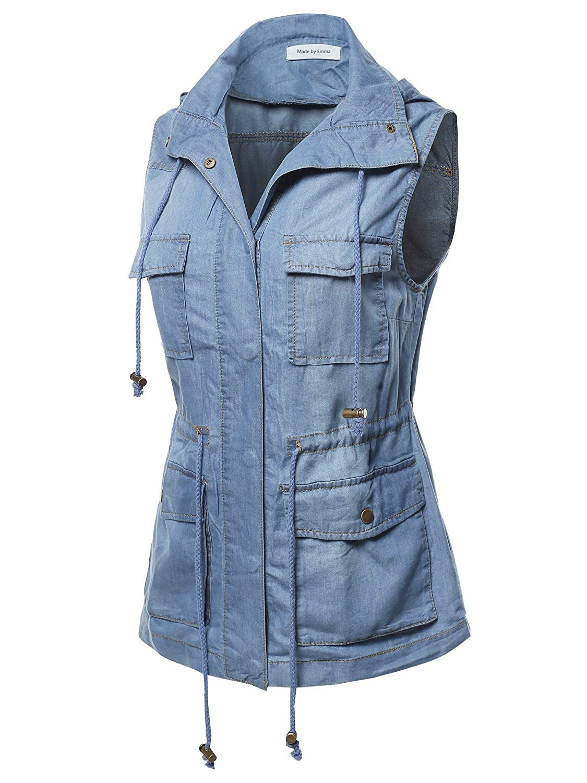 e2e6106df13df Get Quotations · Made by Emma Women s Sleeveless Safari Military Utility  Drawstring Hoodie Vest Jacket