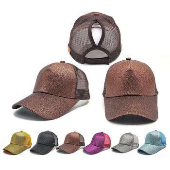 4c7d8fbf189 Custom Sequins Shiny Messy Bun mesh back pony tail baseball hats for women