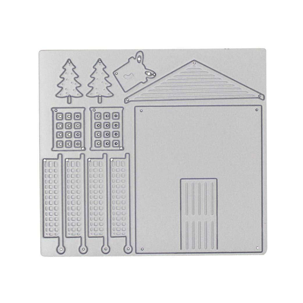 Cutting Dies,Pollyhb Metal Cutting Dies Stencils Scrapbooking Embossing DIY Crafts,House Snowman Girl,for Card Making Scrapbooking (C:104x92mm)