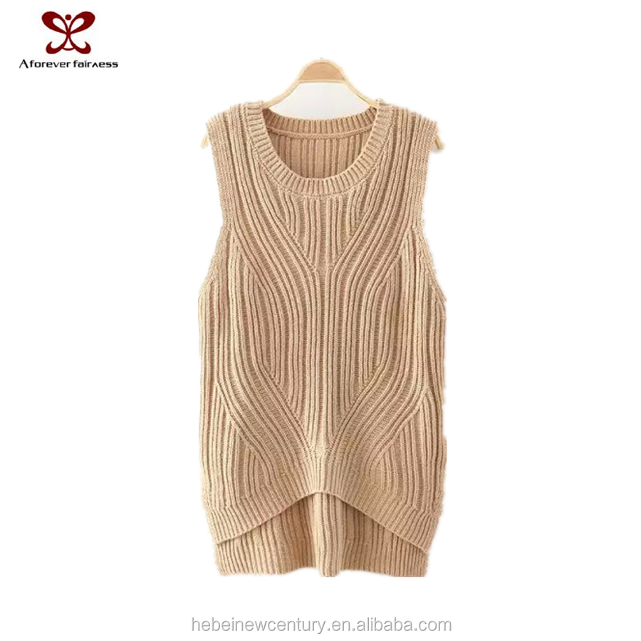 2015 Ladies fashion dress women sweet vest autumn new arrive pure color weave pattern shortr brfore long after knitting dress