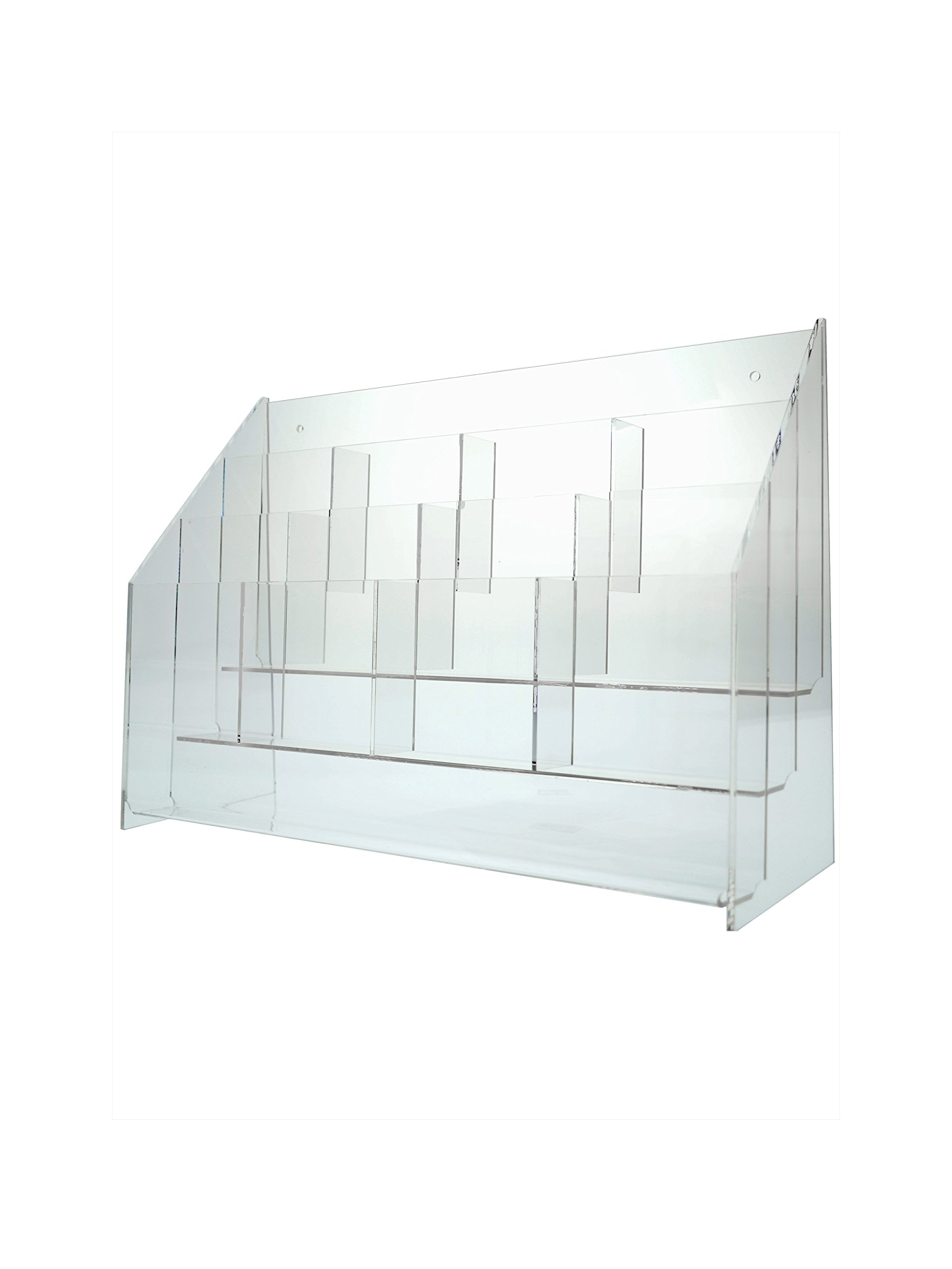 "Marketing Holders Clear Acrylic 12 Pocket, Tiered Brochure Holder for 4""W Literature, Tri-fold Brochures, and Pamphlets; Wall Mount or Countertop"