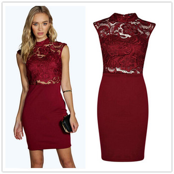 Sexy Party Burgundy Pencil Dress High Neck Lace Midi Dress Buy Sexy Party Pencil Dresslace Midi Dressmaxi Dress Women Product On Alibabacom