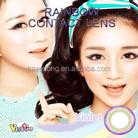 colorful cosmetic soft contact lenses raibow violet