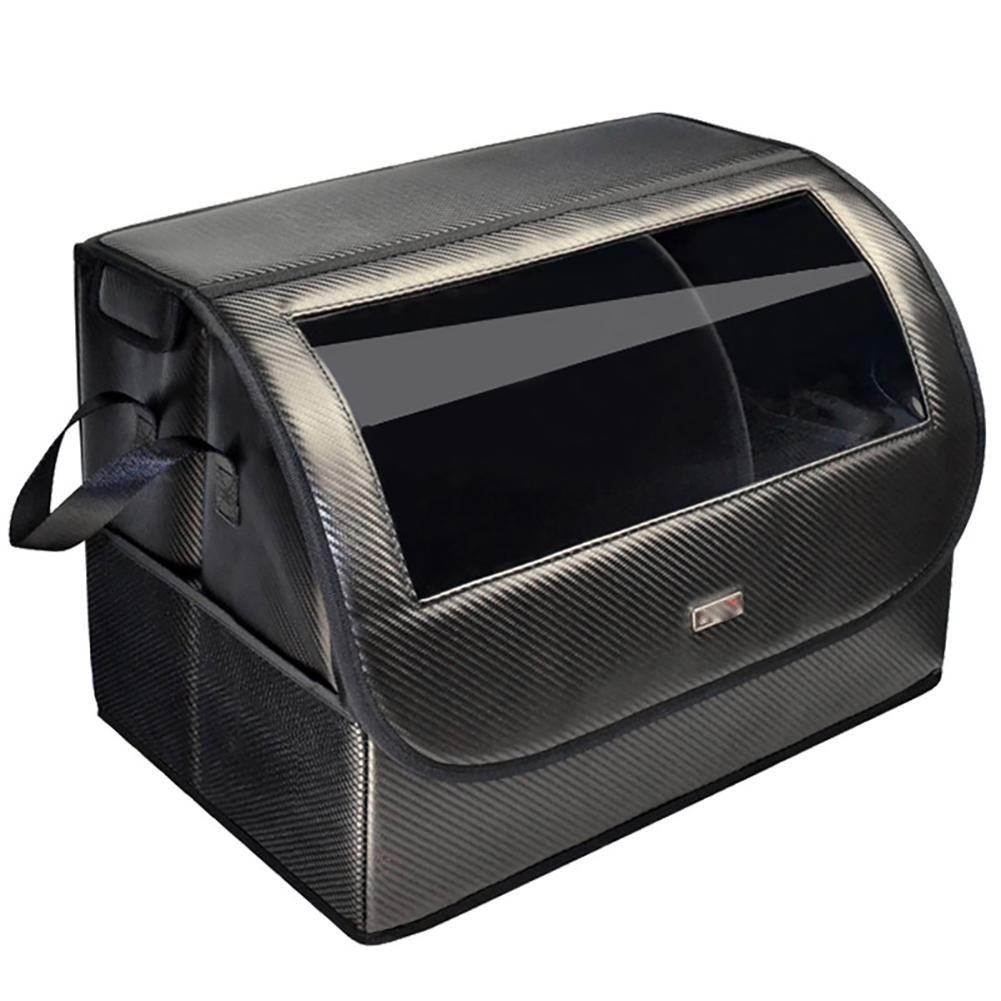 Car Organiser Foldable Car Storage Box Trunk Storage Box Car Tail Box Home Multi-Purpose Car Supplies Finishing Box Magnetic Suction Cover Both Sides of the Bag Black