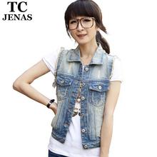 Moderní dámská džínová vesta s kapsičkami z Aliexpress