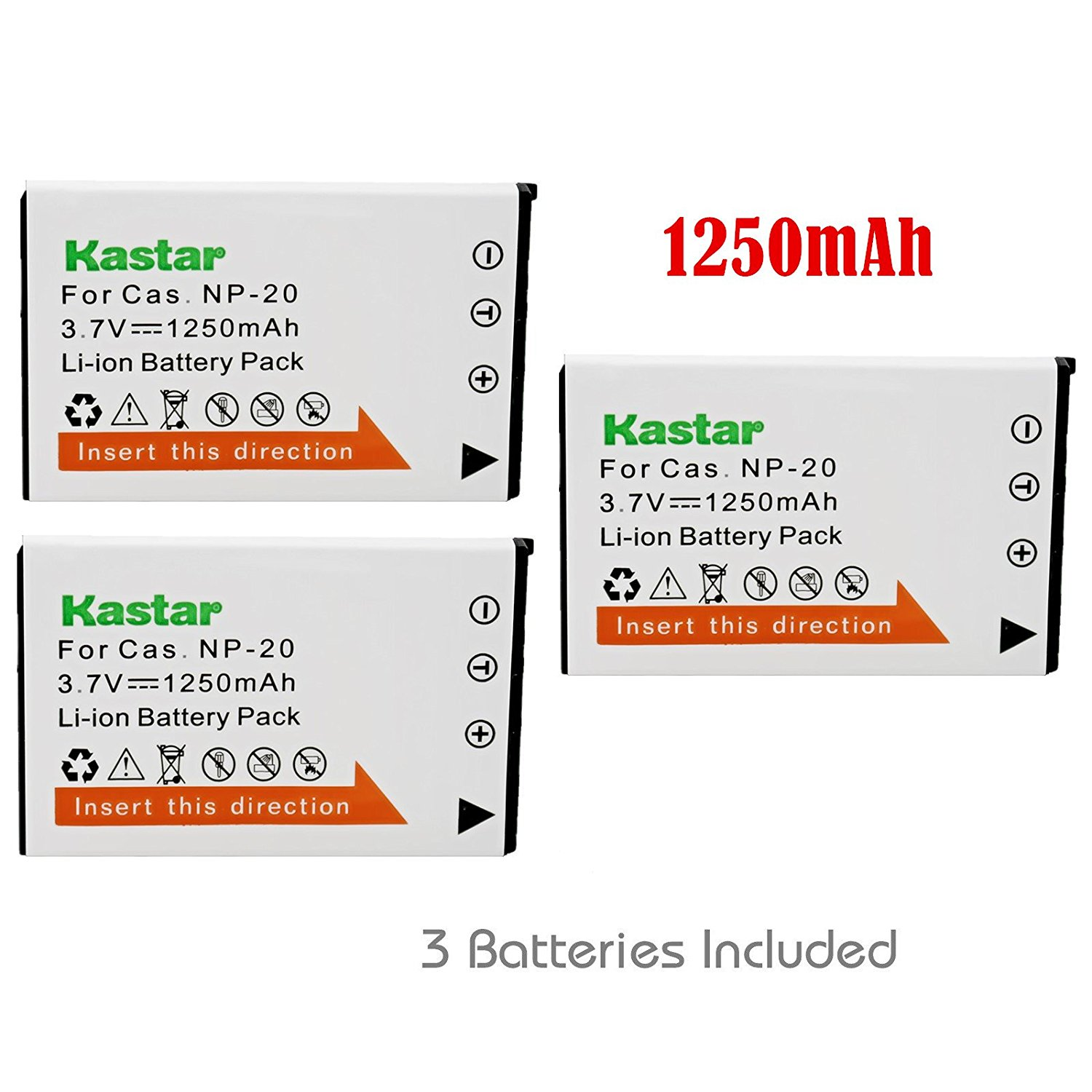 Kastar Battery (3-Pack) for Casio NP20, NP-20DBA and BC-11L work with Casio Exilim EX-M1, EX-M2, EX-M20, EX-S1, EX-S2, EX-S3, EX-S20, EX-S100, EX-S500, EX-S600, EX-S770, EX-S880, EX-Z3, EX-Z4, EX-Z5, EX-Z6, EX-Z7, EX-Z8, EX-Z11, EX-Z60, EX-Z65, EX-Z70, EX-Z75, EX-Z77 Cameras