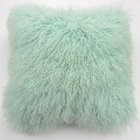 Real Curly Wool Mongolian Lamb Fur 12x20 Luxury Mint Tone Throw Pillow Cases