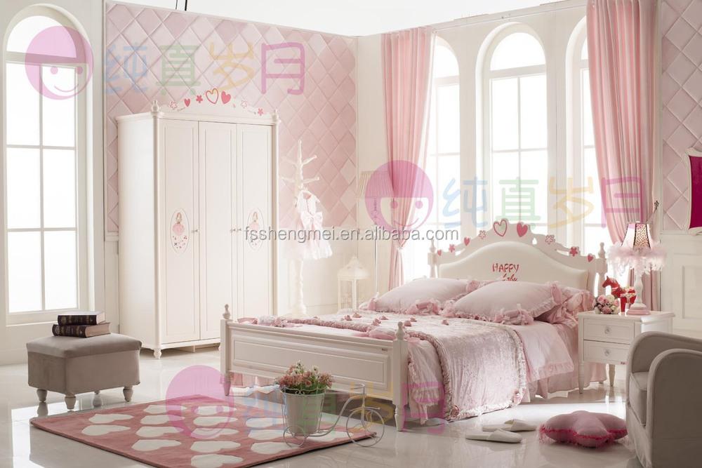 Jasmine white kids bedroom furniture solid wood with mdf - Solid wood youth bedroom furniture ...