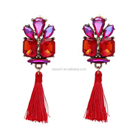 Fashion crystal drop earrings with tassel wholesales RQ-0091
