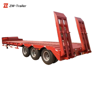 Low Price 3 Axle 60 Tons Low Bed Trailer Trucks For Tractor Head