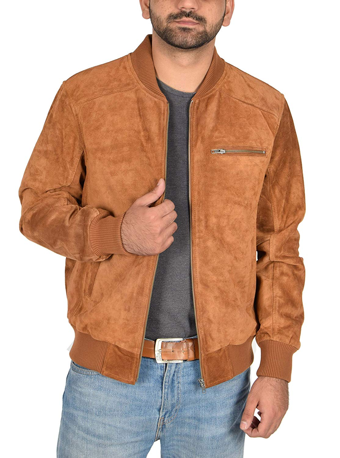 Mens Classic Fit Baseball Genuine Soft Suede Leather Bomber Jacket Reg Tan