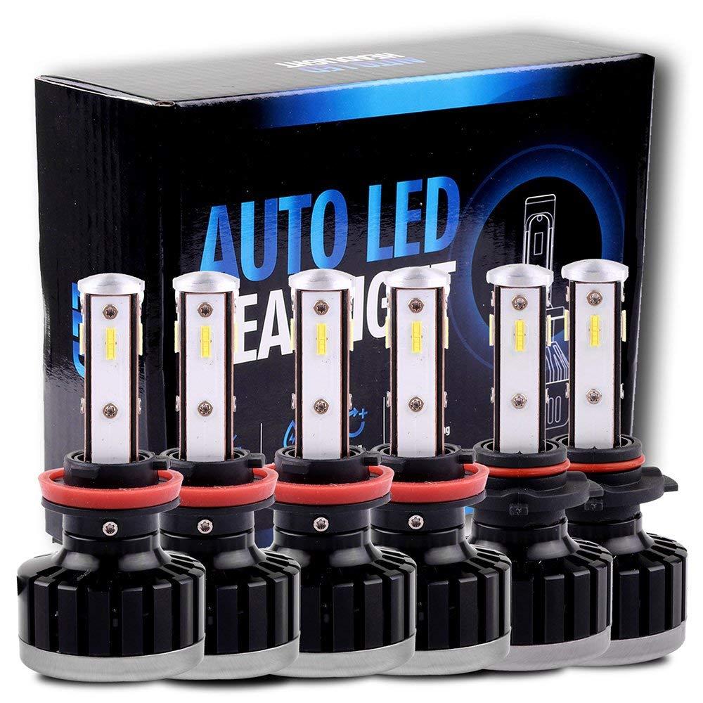 Scitoo H11+H11+9005 LED Headlight Bulb Conversion Kit High Low Beam Brighter Cree White Light LED Headlight - 24000Lm 225W 6000K Focus Light - 1 Year Warranty(6pcs)