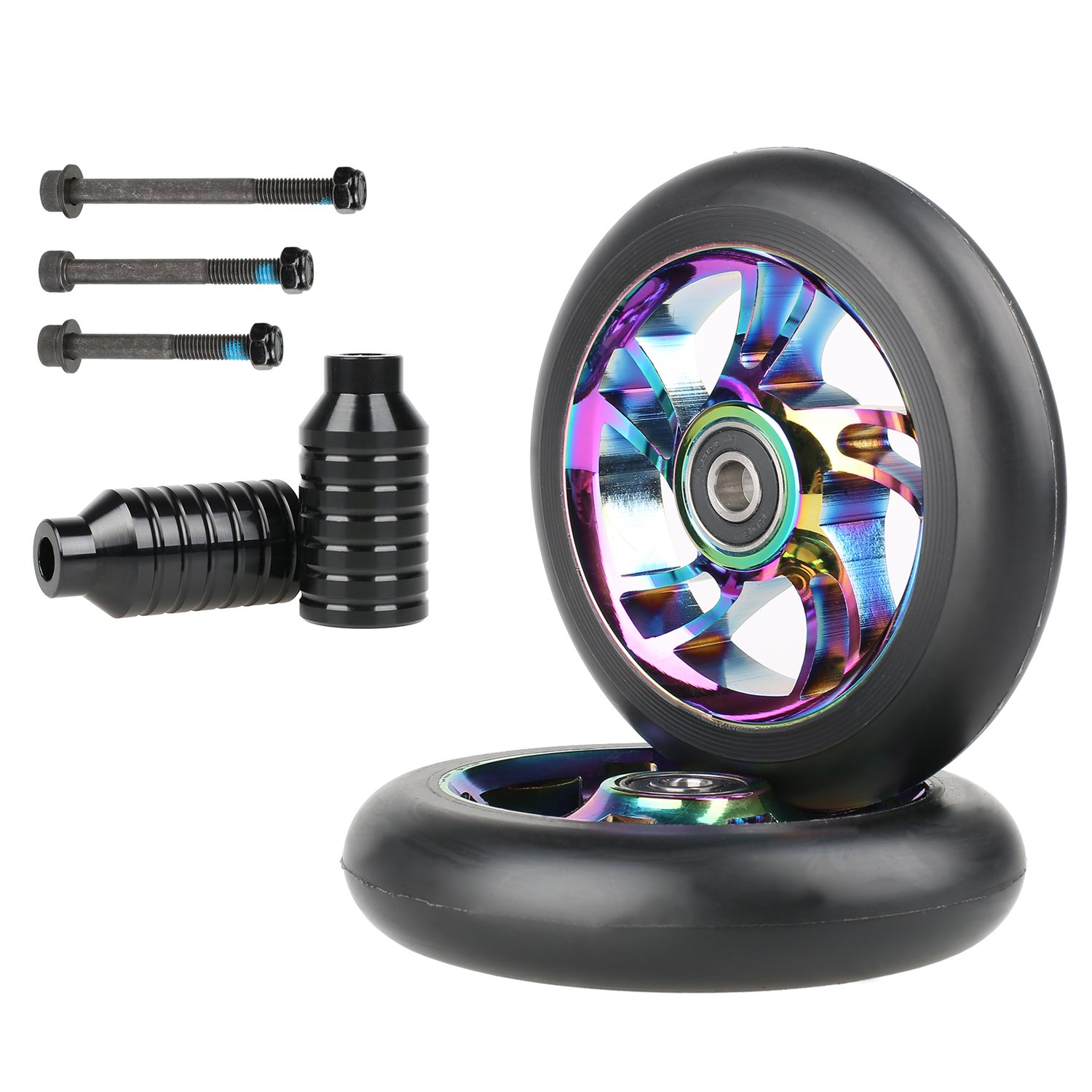 Kutrick Neo Chrome Complete 2pcs 100mm Replacement Pro Scooter Wheels with 2pcs Neo Scooter Peg Kit with 3pcs Axle