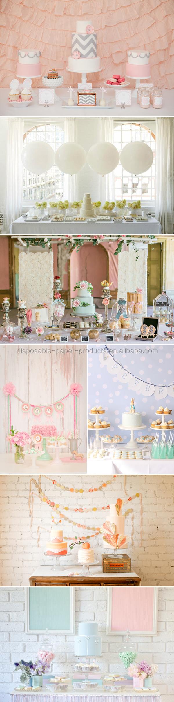 Blue Accordion Paper Lanterns Party Idea Pastel Dessert Tables
