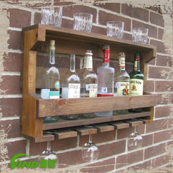 Wood Material Wall Mounted Wine Rack Bottle Liquor Display Showcase Wooden