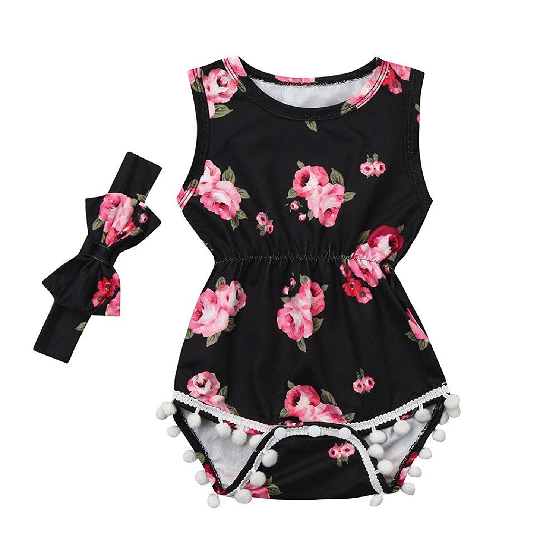 5dd9c675df1d Get Quotations · Littleice 2Pcs Jumpsuit For Baby Kids Infant Girls Floral Tassel  Jumpsuit Romper+Headband Outfits Clothes