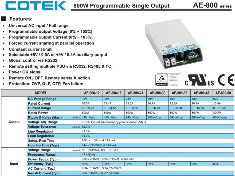 ( Cotek ) Switching Mode Power Supply Model: Ae-800-60 / Ae-800 Series -  Buy Ae-800-48,Ae-800-60,Ae-800-12 Product on Alibaba com