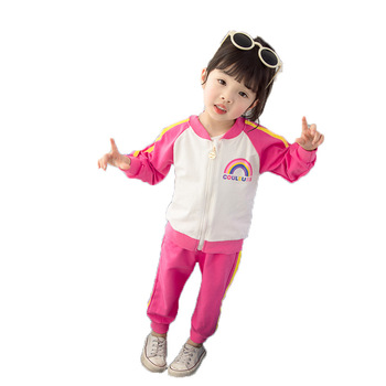 Girls spring and autumn suit 2019 new children's Korean version of the sweater  baby foreign gas two-piece  wear