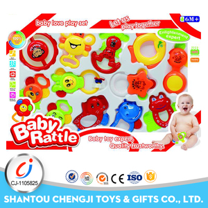 Big set 12pcs rattle toy silicone baby toothbrush teether with sound