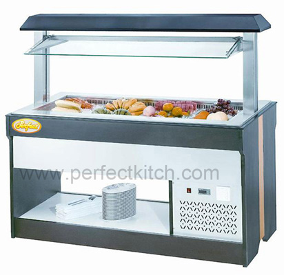 Luxury wooden salad bar counter salad fridge display for Food bar 1480