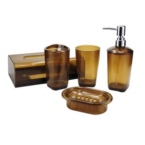 plastic soap dispenser+toilet brush+tumbler+tissue box+toothbrush holder/5 pieces bathroom sets wholesale