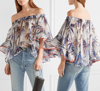 77679a5af4a Latest Fancy Off The Shoulder Stretch Silk-Trimmed Bamboo-Printed Organza  Girls Top Fat