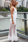 Graceful Blanc Sexy Sheer Mesh Spliced Maxi Zipper Robe LC6731-1