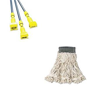 KITRCPA152WHIRCPH246GY - Value Kit - Rubbermaid-Gray Gripper Wet Mop Handle (RCPH246GY) and Rubbermaid-White Compact Web Foot Wet Mop Heads 5quot; Headband (RCPA152WHI)