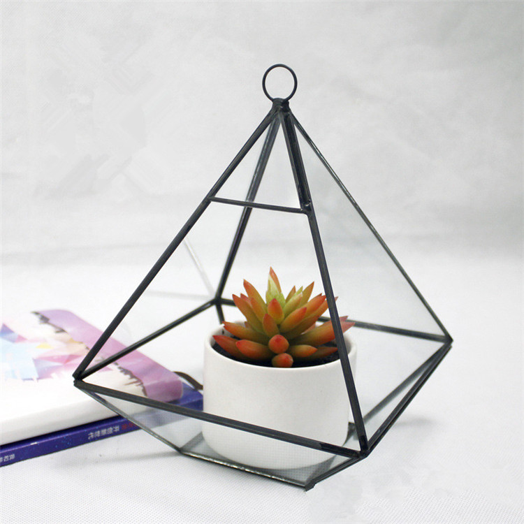 Black & gold Large Terrariums Wholesale geometric glass terrarium
