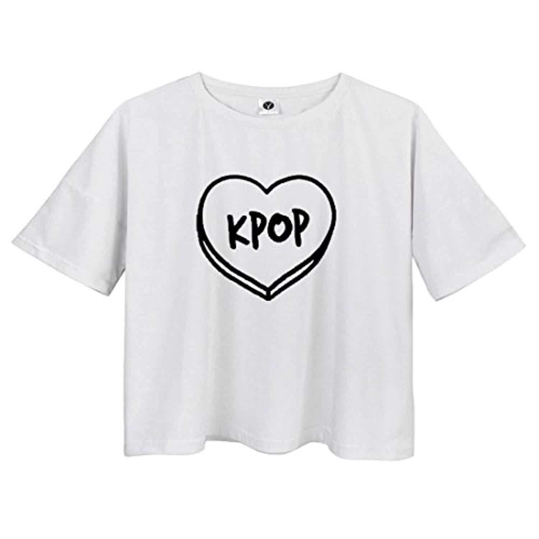 008bc1e8 Get Quotations · VIKINGBRANDS Harajuku Love Crop Tops Kpop Print Cute  Summer T Shirts For Teen Girls