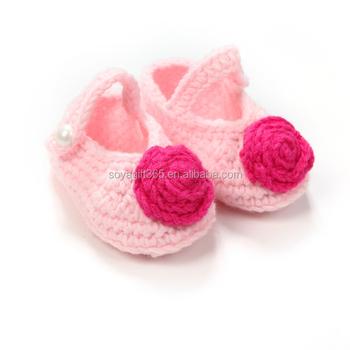 Hand Neugeborenen Säugling Mädchen Rosa Blume Häkeln Socken Stricken