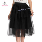 Black Cotton Polyester Summer Skirt Fashion Plus Size Chiffon Flare Gothic Long Layered Skirts