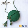 CR passed european test styling cheap lady purse round shape zipper with long chain green bag fashion 2016 fringed pu leather