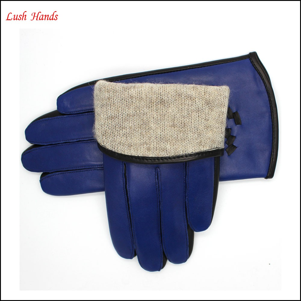 Ladies navy fashion short leather gloves