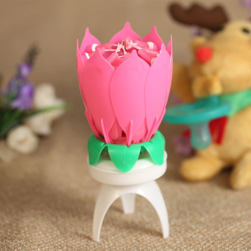 1PC Birthday Candle Beautiful Blossom Lotus Flower Candle Birthday Party Cake Music Sparkle Cake Topper Rotating Candles Decor