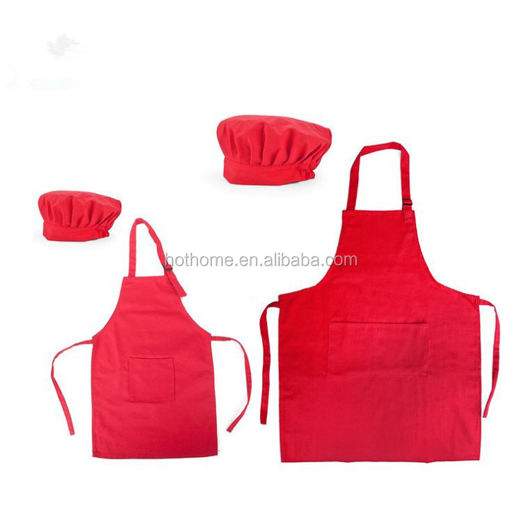Rode kids chef schort set Kind Schorten En Chef Hoeden Goedkope Kind Apons Set