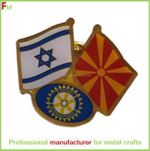 flag lapel pin with soft enamel and printing for ROTARY INTERNATIONAL