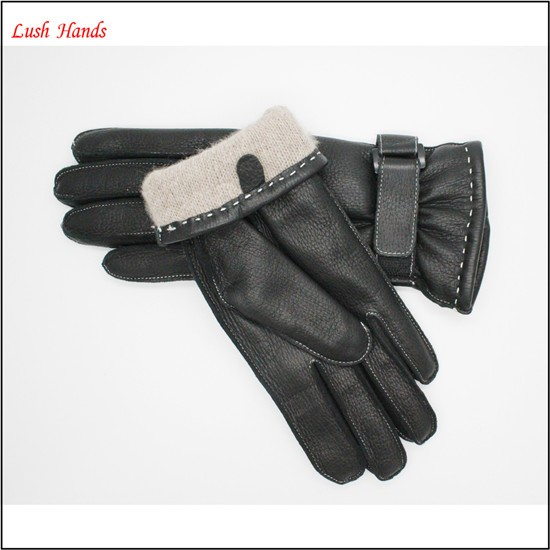 2016 Women's New Style buckskin Leather Cold Weather Gloves with Belt