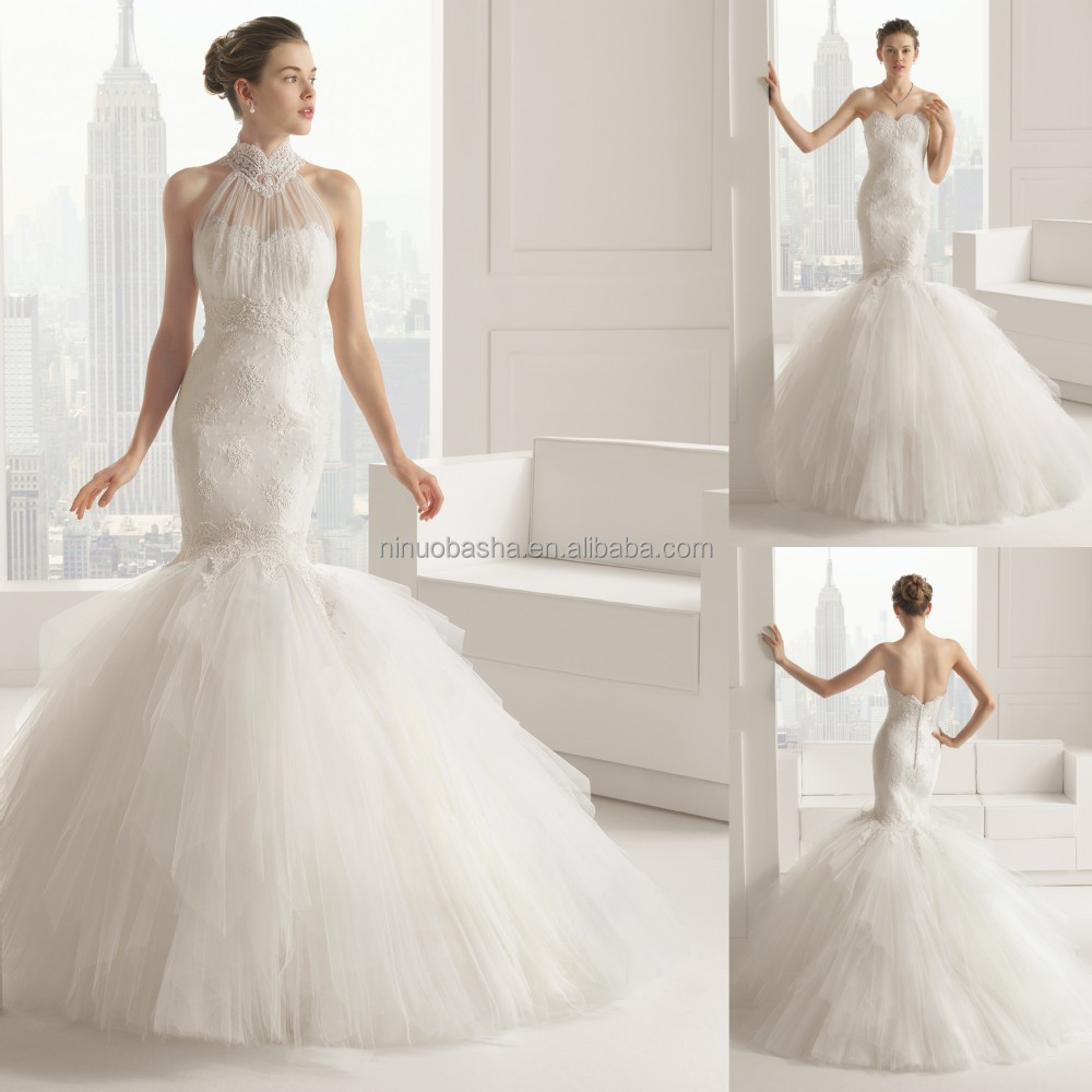 Sexy bottom tiered tulle skirt mermaid wedding dress 2015 for Tulle skirt wedding dresses