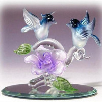 Bird glass figurines for sale spun glass blue bird pair