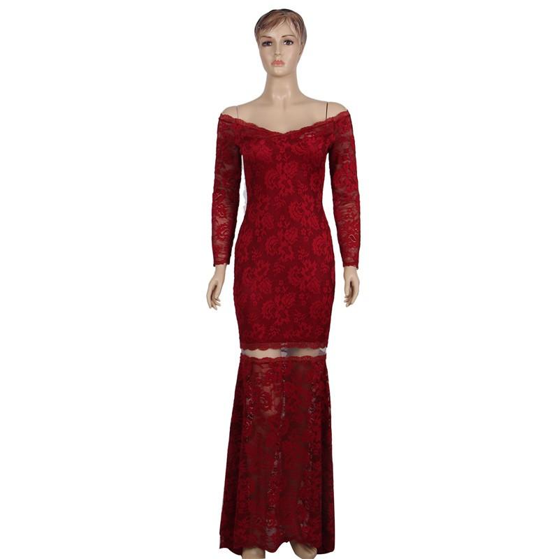 Vestidos elegantes largos vino tinto