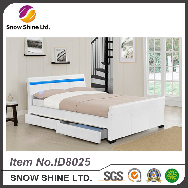 2017 New Arrival wood double bed designs with box hotel bed frame ID8025