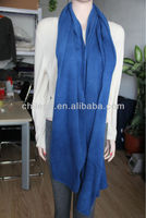 blue cashmere 12gg knitted solid scarfs shawls