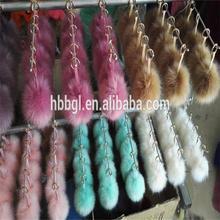 Wholesale Faux fox fur pom poms/Faux fox Fur ball for hats/Fake fox pom pom fur key chain