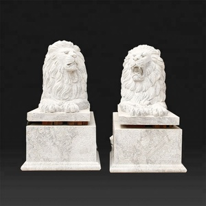Garden decoration life size antique marble stone lion statue for sale