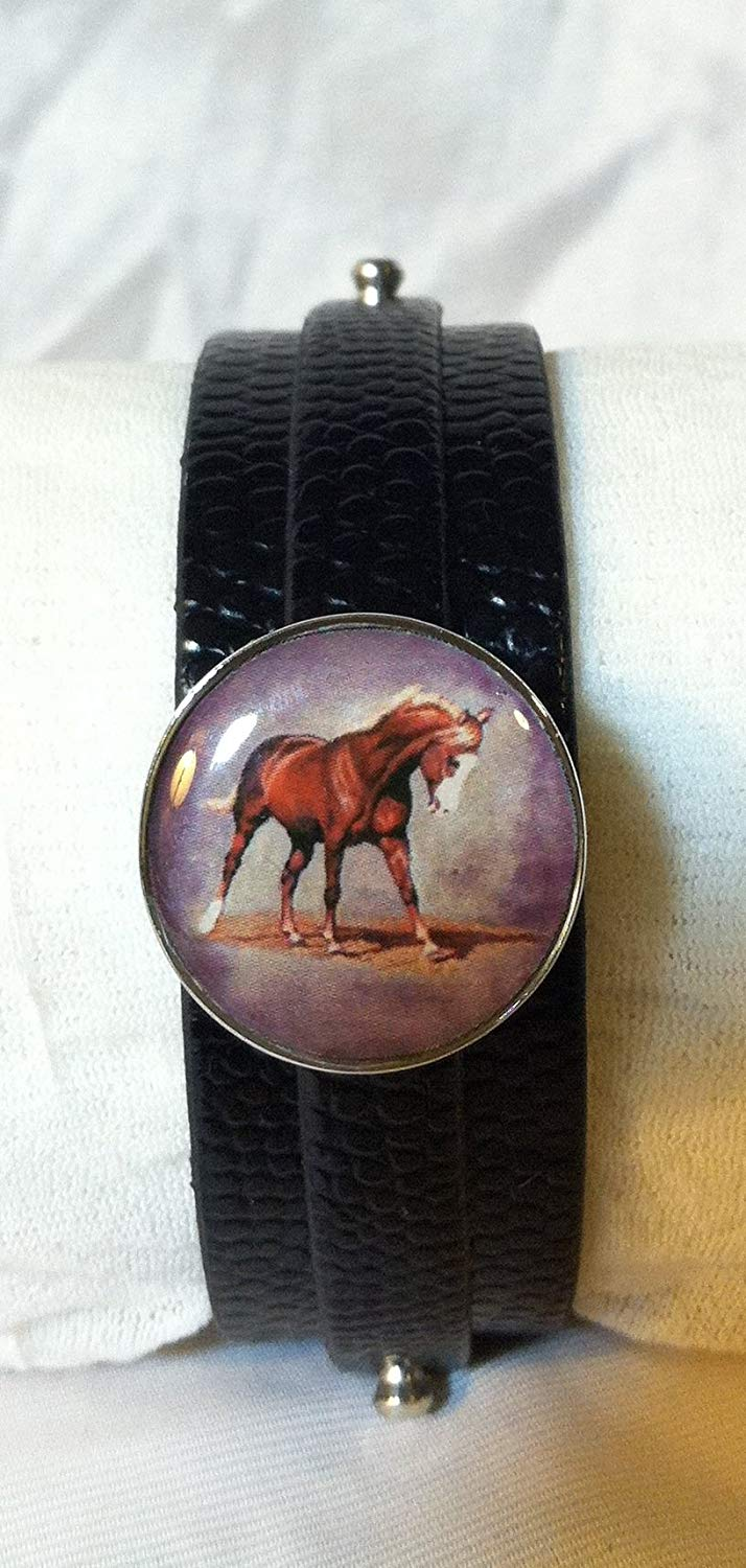 Leather SNAP BRACELET with HORSE SNAP Chestnut Horse Flaxen Mane and Tail 3 color choices SOME WITH BUBBLES!
