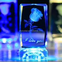 Wedding favors or Christmas Decoration Gifts 3D Laser rose Engraved Crystal Block with led light base