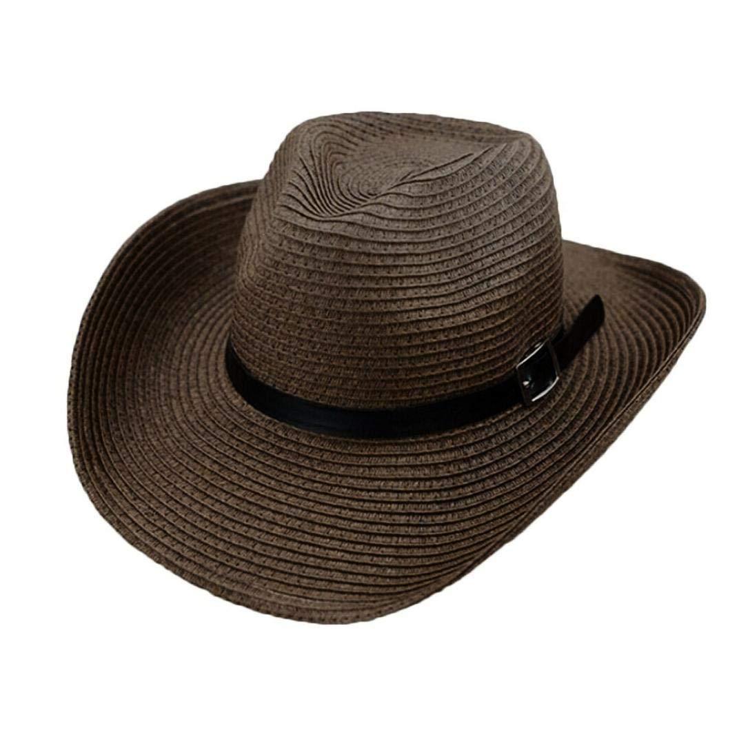 6a226e743512d Get Quotations · LIULIULIUFloppy Foldable Man Unisex Belt Straw Beach Sun  Summer Hat Wide Brim (Coffee)